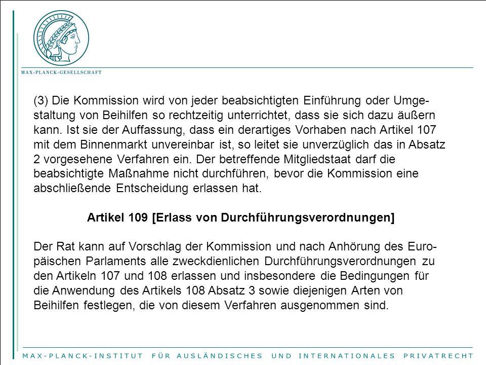 Artikel 109 [Erlass von Durchführungsverordnungen]